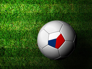 Czech Flag Pattern 3d rendering of a soccer ball in green grass