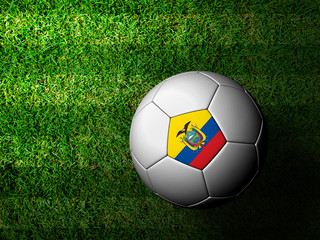 Ecuador Flag Pattern 3d rendering of a soccer ball in green gras