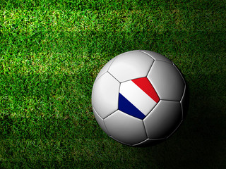 France Flag Pattern 3d rendering of a soccer ball in green grass