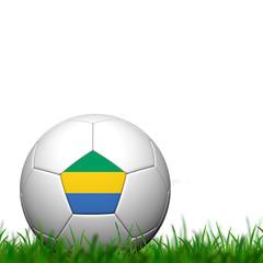 3D Soccer balll Gabon Flag Patter on green grass over white back