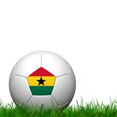 3D Soccer balll  Ghana Flag Patter on green grass over white bac