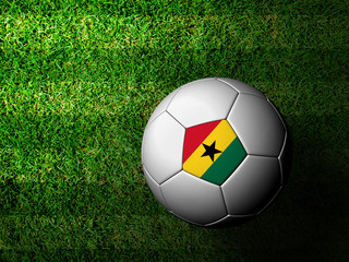 Ghana Flag Pattern 3d rendering of a soccer ball in green grass