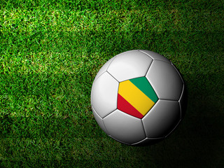 Guinea Flag Pattern 3d rendering of a soccer ball in green grass