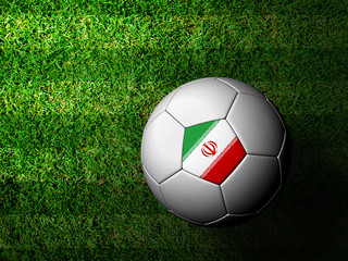 Iran Flag Pattern 3d rendering of a soccer ball in green grass