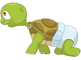 Funny Turtle. Baby First Step