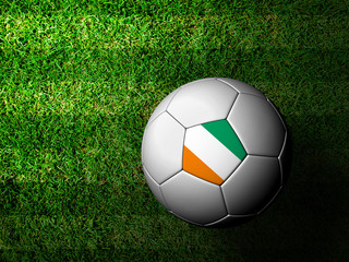 Ivory Coast Flag Pattern 3d rendering of a soccer ball in green
