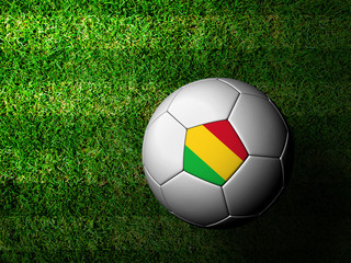 Mali Flag Pattern 3d rendering of a soccer ball in green grass