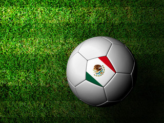 Mexico Flag Pattern 3d rendering of a soccer ball in green grass