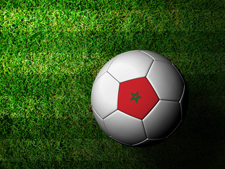 Morocco Flag Pattern 3d rendering of a soccer ball in green gras