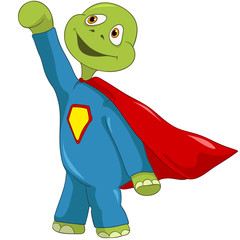Poster Superheroes Funny Turtle. Superman.