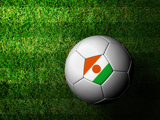Niger Flag Pattern 3d rendering of a soccer ball in green grass