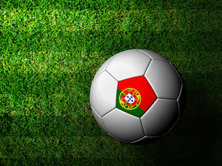 Portugal Flag Pattern 3d rendering of a soccer ball in green gra