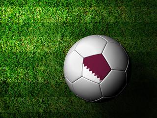 Qatar Flag Pattern 3d rendering of a soccer ball in green grass
