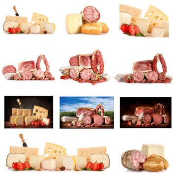 Collage di insaccati e formaggi