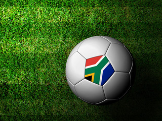 South Africa Flag Pattern 3d rendering of a soccer ball in green