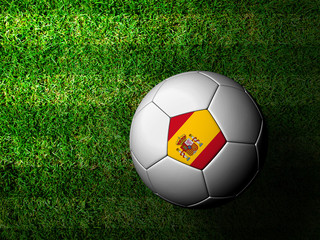 Spain Flag Pattern 3d rendering of a soccer ball in green grass