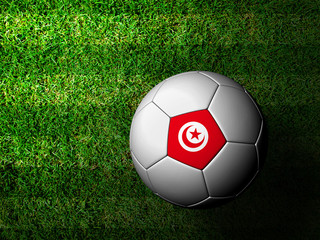 Tunisia Flag Pattern 3d rendering of a soccer ball in green gras