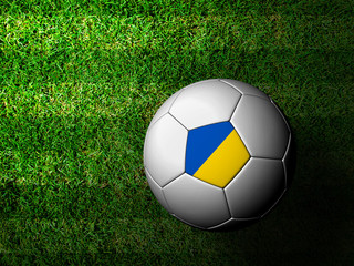 Ukraine Flag Pattern 3d rendering of a soccer ball in green gras