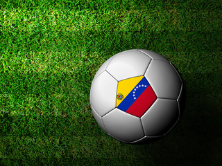 Venezuela Flag Pattern 3d rendering of a soccer ball in green gr