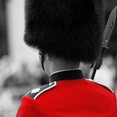 Poster Red, black, white Queen's soldier at Trooping the color, 2012