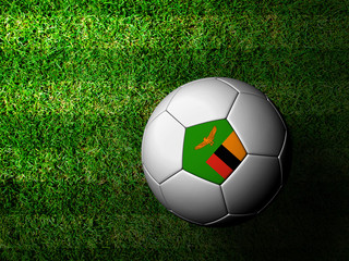 Zambia Flag Pattern 3d rendering of a soccer ball in green grass