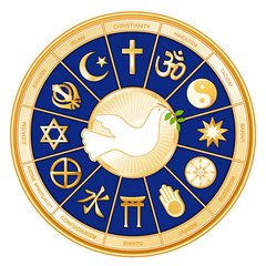 World Religions Mandala, Dove of Peace, Labels