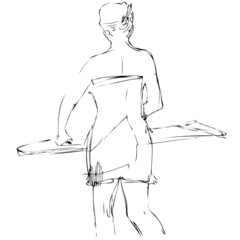 a sketch a girl costs at an ironing board