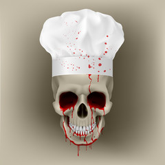 Bloody skull cap chef.