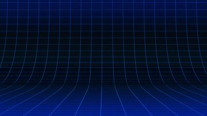 Abstrakter blau leuchtender Neon Gitterlinien 3D Raum