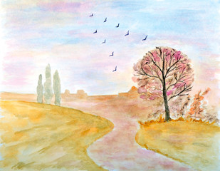 Autumnal Landscape Watercolor Hand Drawn and Painted