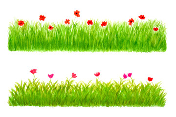 Two Grass Border Pieces Watercolor Drawn and Painted, Isolated