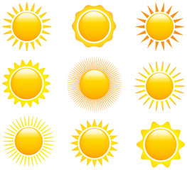 Set of sun images