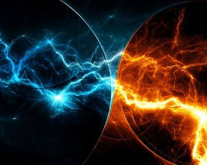 Fire and ice abstract fractal lightning