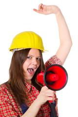 Handwerkerin mit Megafon