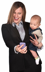 Businesswoman and Baby Look at Phone
