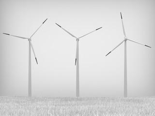 Wind turbines on gray background