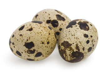 Bunch of whole quail eggs on white