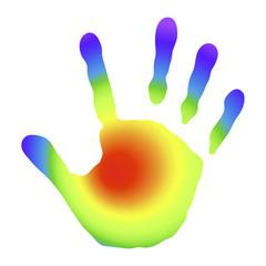 Handabdruck mit Regenbogenfarben
