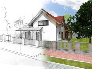 Illustration of an idea and implementation of house
