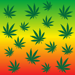 Rastafarian background with marijuana leaves