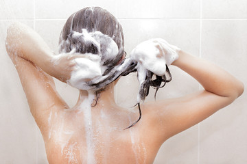 Woman washing her hair