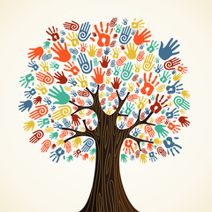 Wall Mural - Isolated diversity tree hands