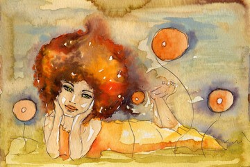 Keuken foto achterwand Schilderkunstige Inspiratie leżąca kobieta