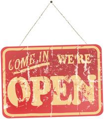 Fond de hotte en verre imprimé Affiche vintage vintage Open Sign Hanging, isolated On White Background