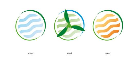 Windkraft Wasser Solar Klima Windrad Kälte Logo Signet