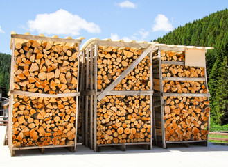 Firewood stored to be shipped and sell