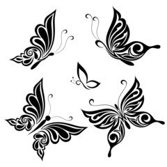 Set of vector butterflies