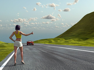 Hitchhiking girl on a road