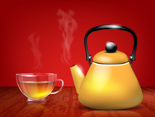 Yellow metal teapot and glass cup of tea - vector file