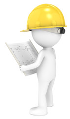 3D little human character The Builder looking at a blueprint.